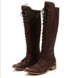 Charles David distressed lace up boots